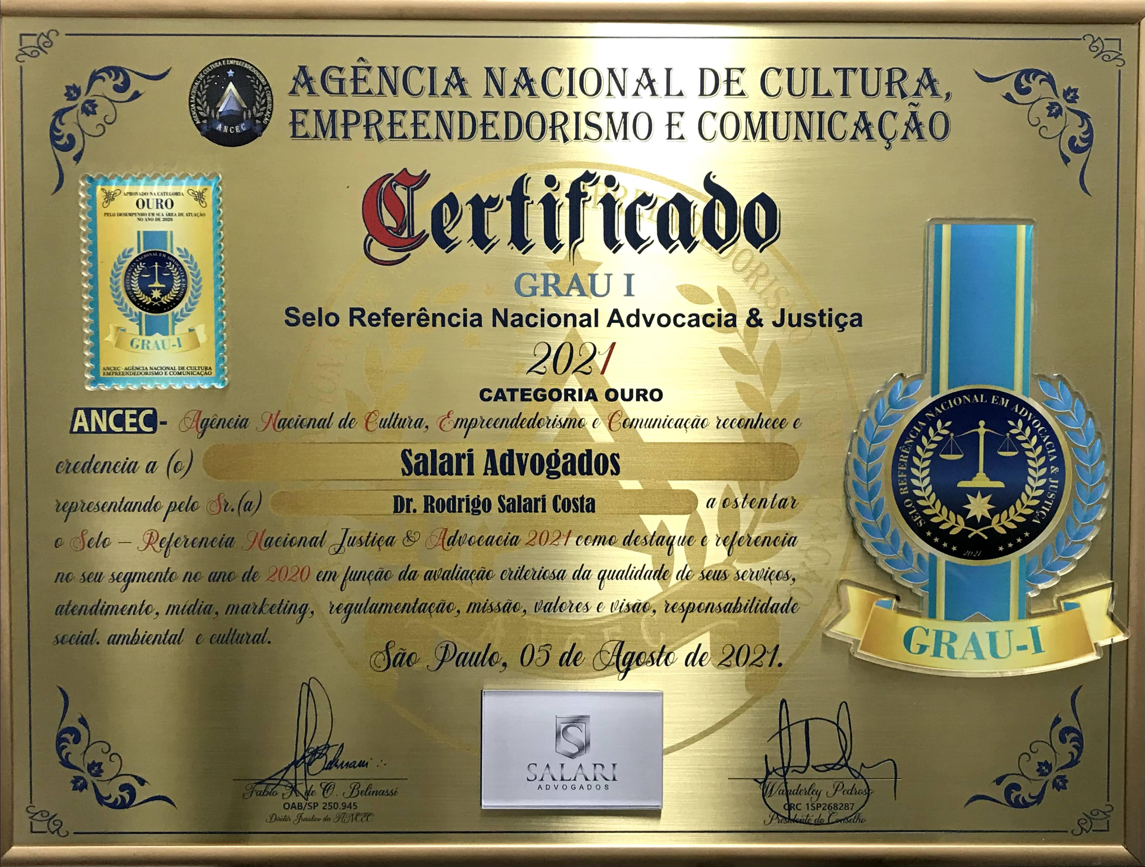 Selo Referência Nacional Advocacia e Justiça