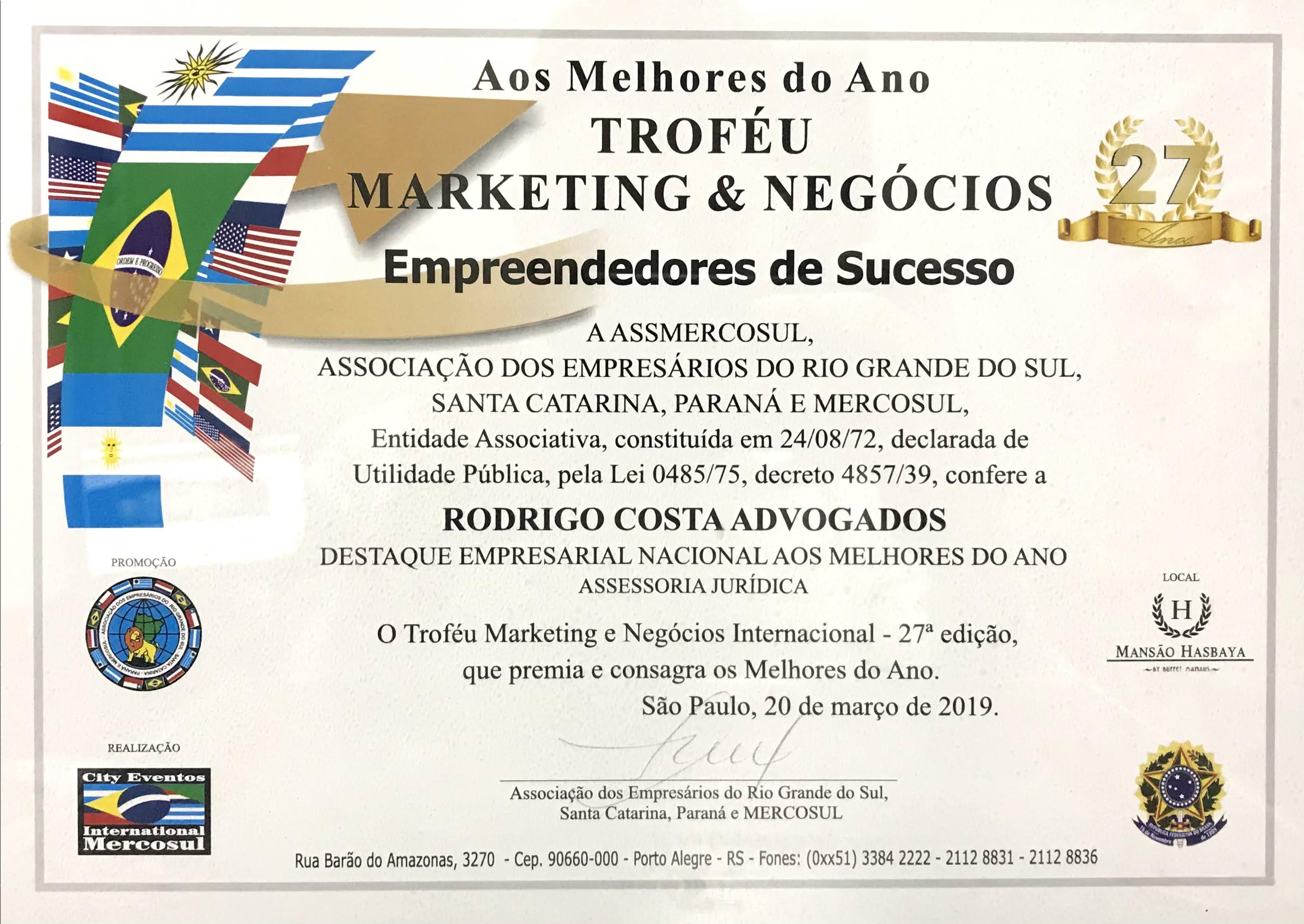 Troféu Marketing e Negócios Empreendedores de Sucesso